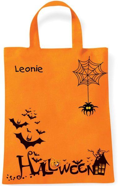 Sammeltasche Stofftasche mit eigenen Namen mini orange Halloween Fledermäuse