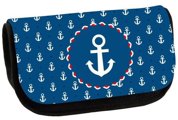 Schminktasche Maritim Anker blau