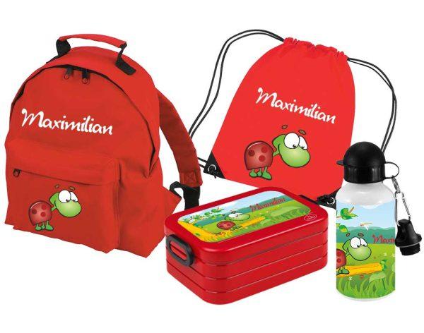 Set 5 Rucksack Classic - Brotdose Maxi - Turnbeutel - Alu-Trinkflasche Rot Motivauswahl