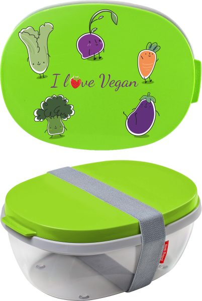 Salatbox Ellipse Lime I love Vegan