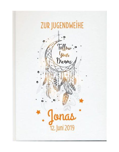Personalisiertes Gästebuch zur Jugendweihe mit Namen und Datum Traumfänger orange