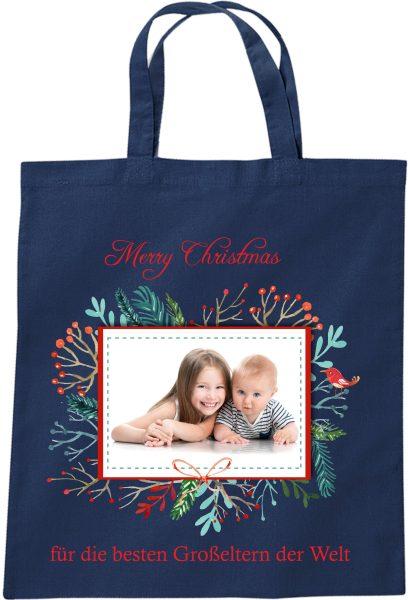 Stofftasche zu Weihnachten Geschenktasche mit Foto und Namen blau Kranz