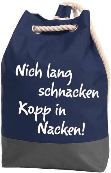 Rucksack Seesack Beutel mit Kordel Maritim Nich schnacken