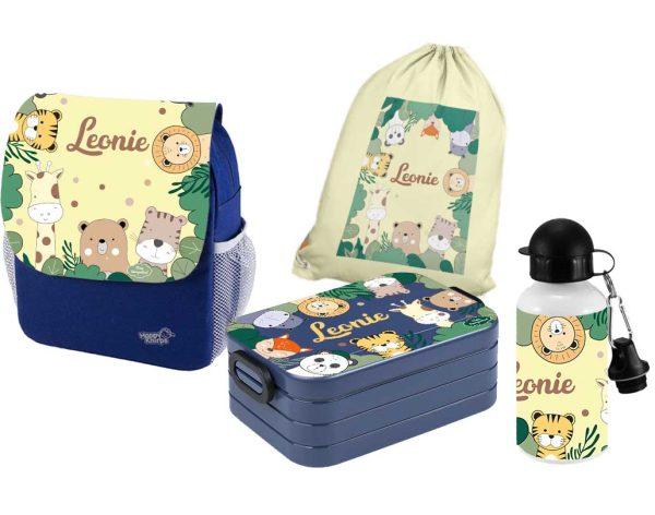 Set 5 Rucksack Happy Knirps NEXT Print - Brotdose - Trinkflasche - Jutebeutel Blau Wilde Tiere