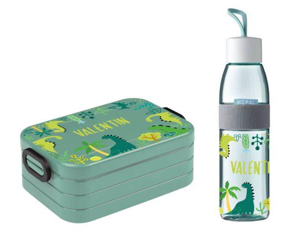 Brotdose Take A Break midi - Trinkflasche Ellipse in Nordic Green mit Name und Dinos