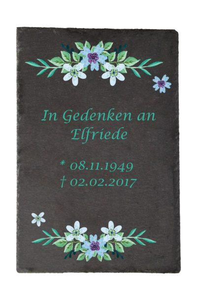 Gedenktafel Schieferplatte Watercolor Blumen