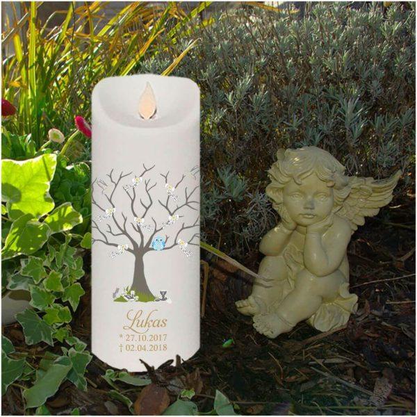 LED Kerze Twinkle Sternenkind Baum mit Schleifen und blaue Eule
