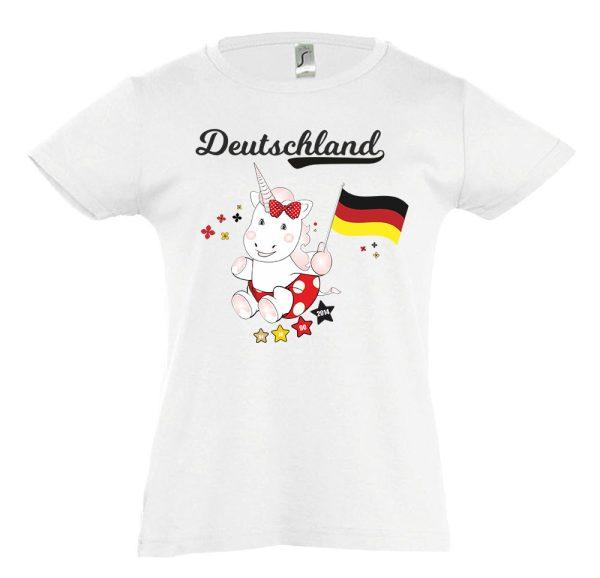Kinder T-Shirt tailliert WM 2018 Motiv 12 Einhorn Cutie