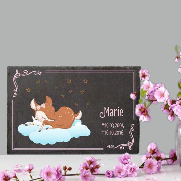 Gedenktafel Sternenkind Schlafendes Reh mit Hase