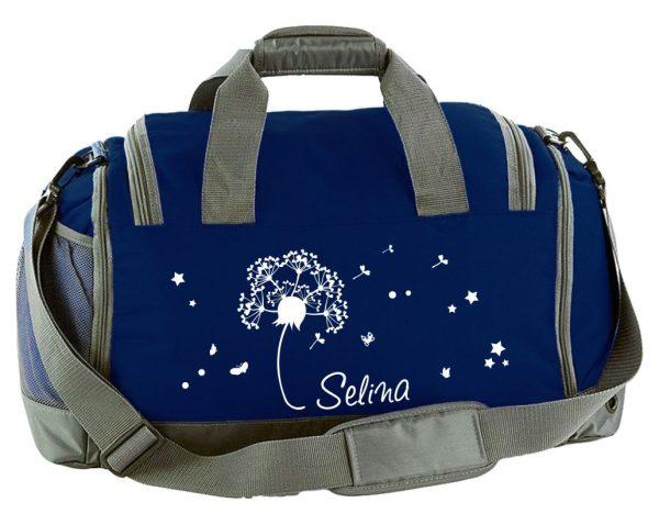 Multi-Sporttasche mit Schuhfach und Feuchtfach mit Name und Pusteblume