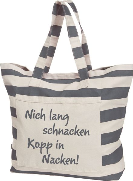 Streifen-Strandtasche Shopper maritim Nich lang schnacken