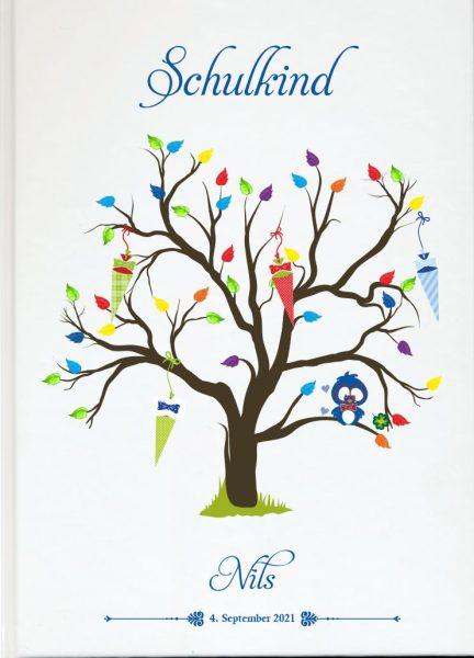 Personalisiertes Gästebuch zur Einschulung Schulanfang blau