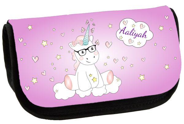 Schminktasche Kosmetiktasche Unicorn Einhorn cutie mit Brille