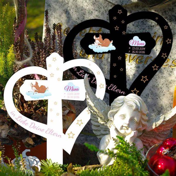 Grabkreuz mit Herz für Sternenkind schlafendes Reh mit Hase auf Wolke