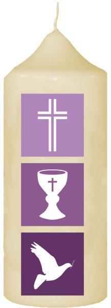 Kerze zur Konfirmation mit Namen und Datum Symbolik