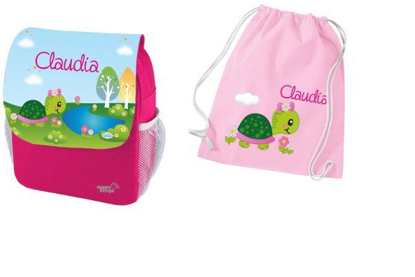 Set 2 Rucksack Happy Knirps NEXT Print und Turnbeutel aus Baumwolle, Pink, verschiedene Motive
