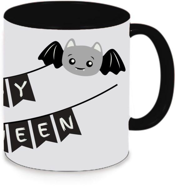 Keramiktasse Tasse Kaffee Tee Becher zu Halloween schwarz Happy Halloween Fledermaus