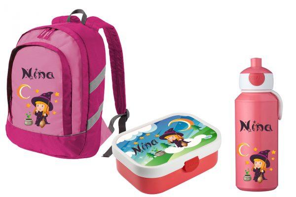 Set 3: Rucksack Bicolor + Brotdose Mepal mit Bento Box und Gabel + Trinkflasche Pop Up