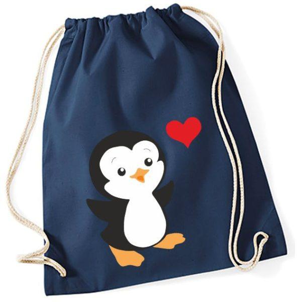 Jutebeutel Turnbeutel Sportbeutel navy Pinguin