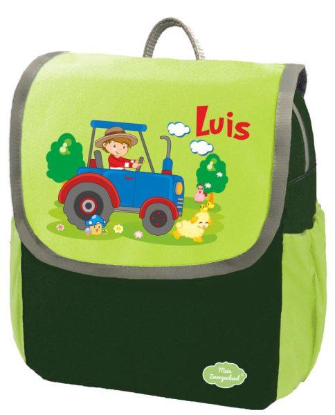 Kindergartenrucksack Happy Knirps NEXT mit Name Grün Traktor Bauernhof