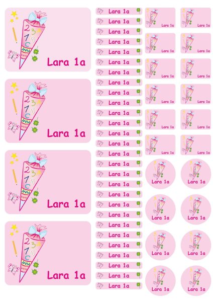 Namensaufkleber Heftaufkleber Stickerbogen Schultüte rosa
