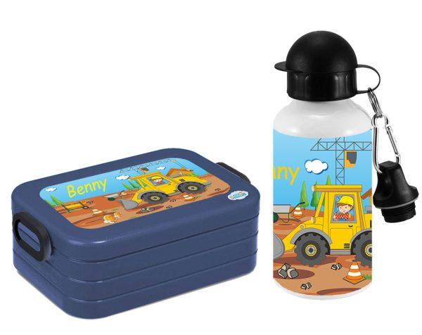 Brotdose Lunchbox Maxi Take A Break midi + Alu-Trinkflasche Baustelle