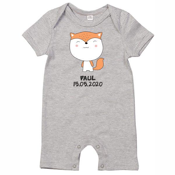 Baby Strampler Bio-Baumwolle Streifen kurze Hose mit Namen Motiv Herr Fuchs