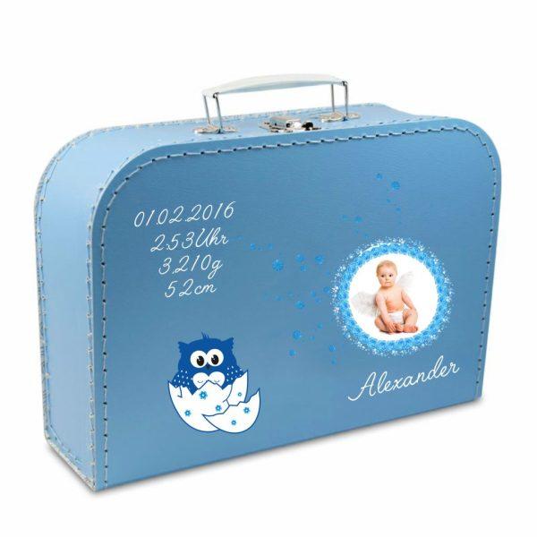 Geschenkkoffer mit Foto blau Eule