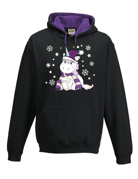 Kapuzenpullover Pullover Hoodie Winter Weihnachten Einhorn Cutie lila