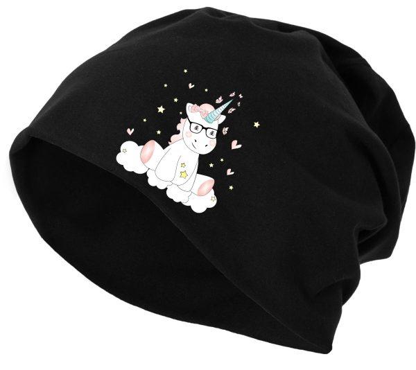 Jersey Beanie Mütze Wintermütze Stretch Unicorn Einhorn cutie mit Brille
