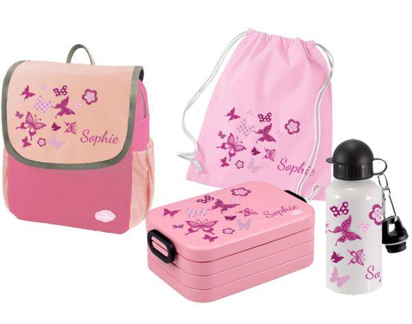 Set 5 Rucksack Happy Knirps NEXT - Brotdose Maxi - Jutebeutel - Flasche Pink Schmetterlinge