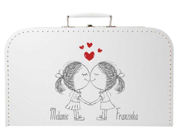 Koffer zur Hochzeit Geschenkkoffer Gastgeschenk weiss Frauenpaar
