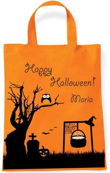 Sammeltasche Stofftasche mit eigenen Namen mini orange Halloween Eule Baum
