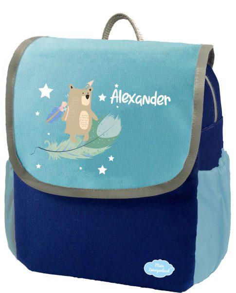 Kindergartenrucksack Happy Knirps NEXT mit Name Blau Boho Bär mit Sternen