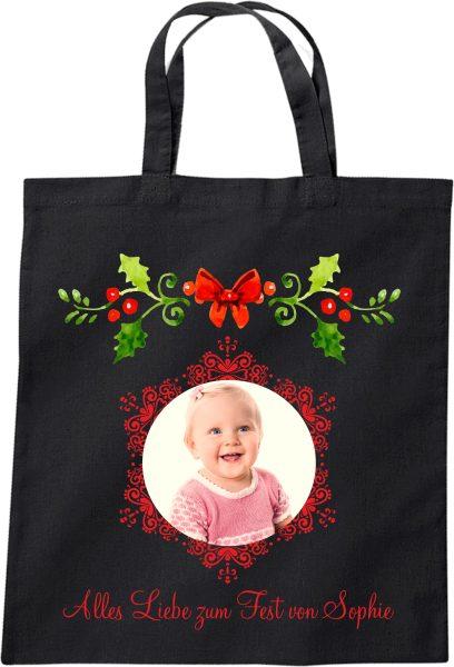 Stofftasche zu Weihnachten Geschenktasche mit Foto und Namen schwarz Mistelzweig