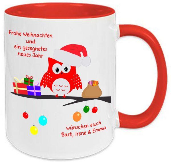 Tasse Rot Weihnachten Happy Eule