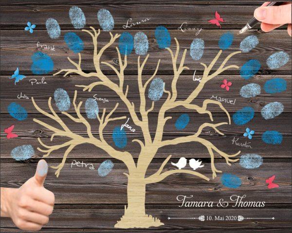 Personalisiertes Fingerabdruck Hochzeitsgästebuch auf Leinwand mit rustikalen Baum