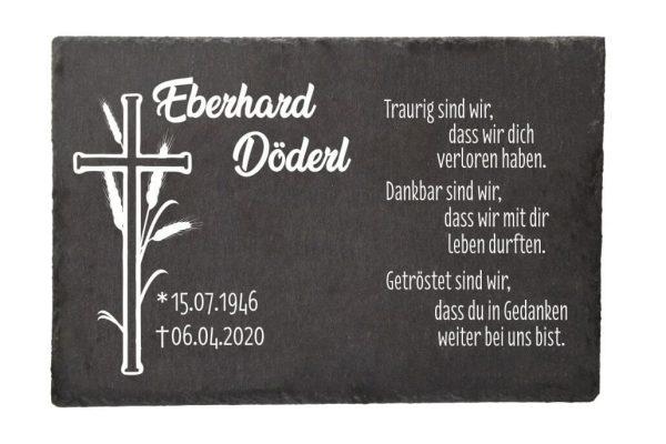 Gedenktafel Schieferplatte Kreuz mit Ähre