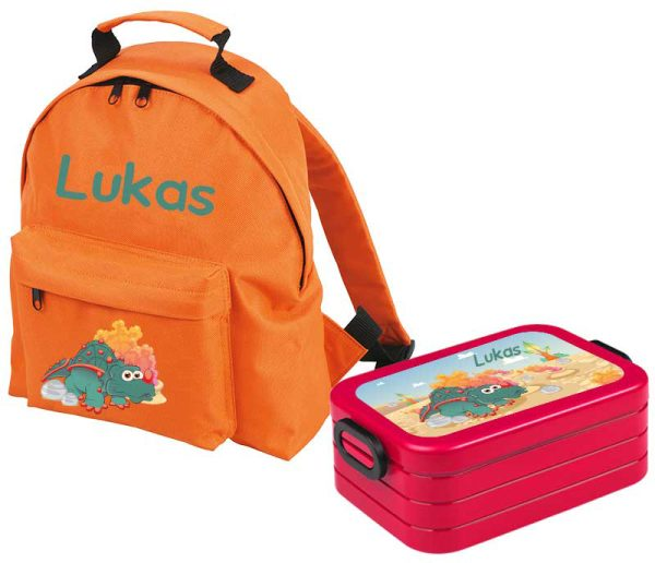 Set 1 Rucksack Classic - Brotdose Maxi Orange Motivauswahl