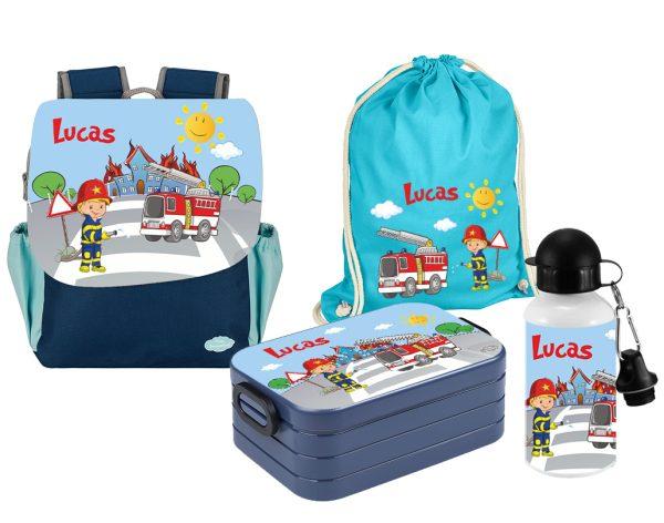 Set 5 Rucksack Happy Knirps NEXT Print - Brotdose Maxi - Trinkflasche - Jutebeutel Blau Motivauswahl