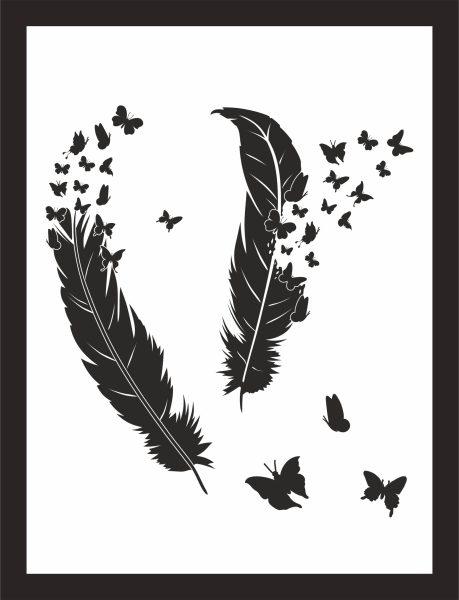 Kunstdruck zwei Federn mit Schmetterlingen