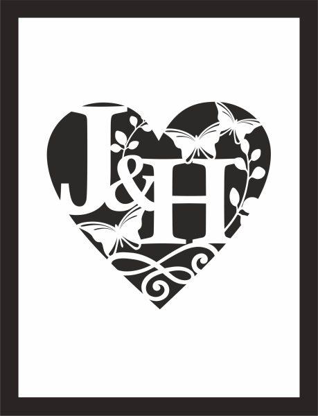 Kunstdruck mit persönlichen Initialen Herz Schmetterling