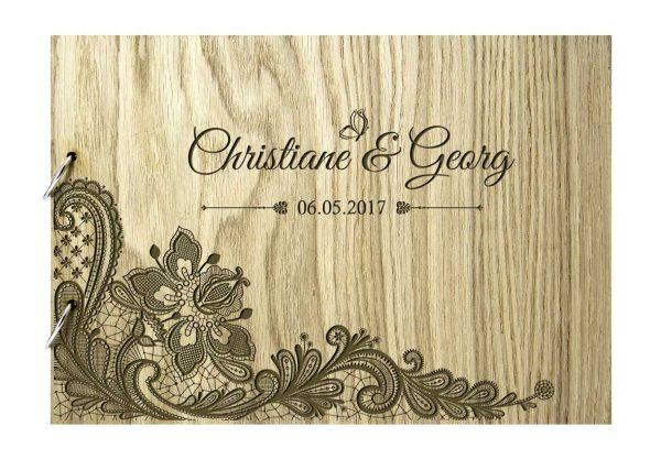 Rustikales Gästebuch aus Holz zur Hochzeit personalisiert Ranke