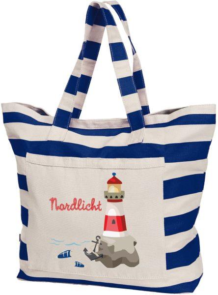 Streifen Strandtasche Shopper maritim Leuchtturm bunt
