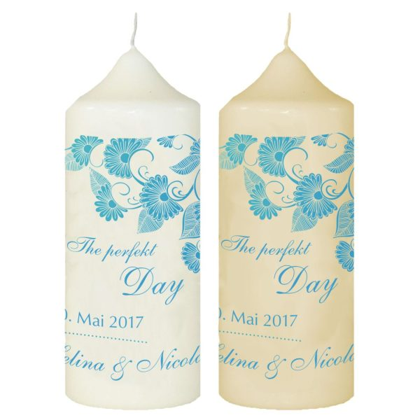 Hochzeitskerze Traukerze mit Namen und Datum (Motiv 14)