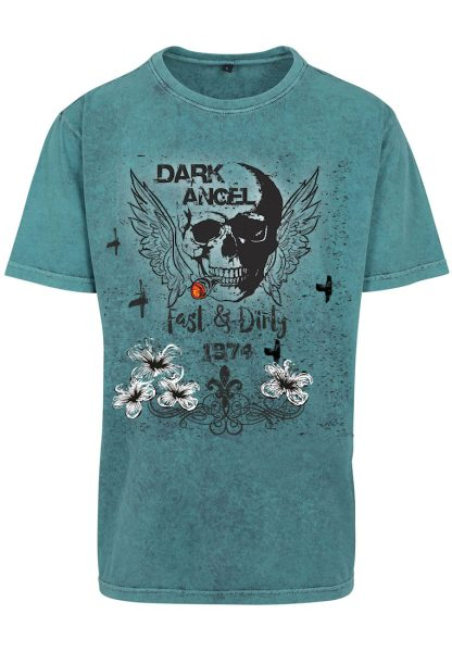 Herren Acid Washed T-Shirt Dark Angel