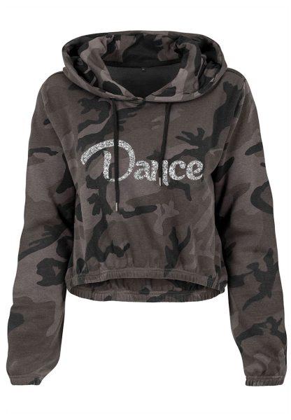 Damen Camouflage Cropped Hoodie Glitzer Dance