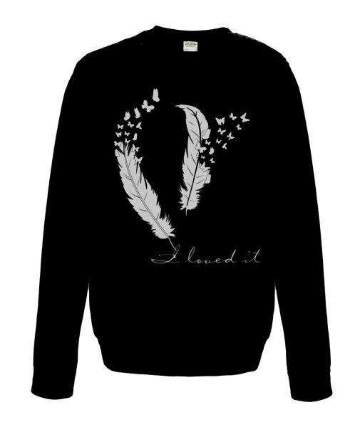 Sweatshirt Shirt Pullover Pulli Unisex Federn mit Schmetterlingen