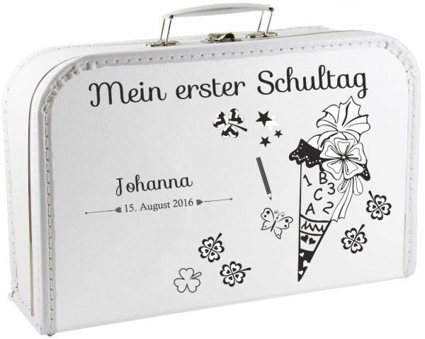 Kinderkoffer Spielzeugkoffer Koffer zum Schulanfang weiß Schultüte Zuckertüte