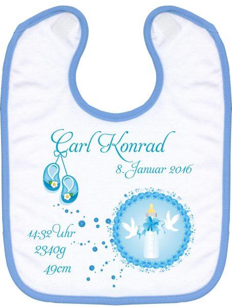 Babylatz blau Babyflasche